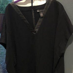 Great everyday black dress w/ leather collar trim